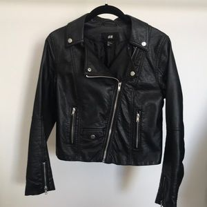 H&M faux leather cropped jacket